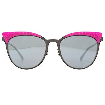 Italia Independent 0257 Thin Metal Base 2 Sunglasses In Gunmetal Pink