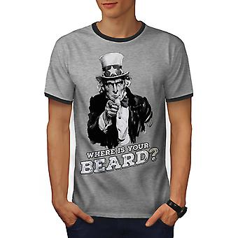 Baard Funny Uncle Sam mannen Heather Grey / Heather donkere T-shirt van de GreyRinger | Wellcoda