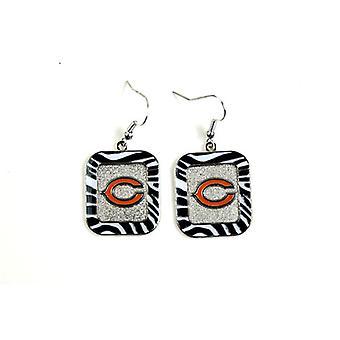 Chicago Bears NFL Zebra Style Dangle Earrings