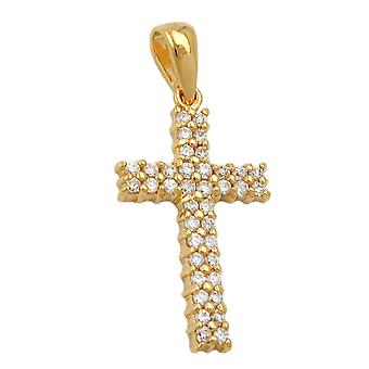 Pendant cross with zirconia 3 micron gold-plated