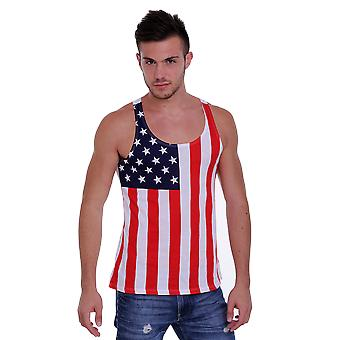 Mænds USA Flag Tank Top amerikanske stolthed