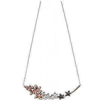 Elements Silver Flower Cluster Necklace - Rose Gold/Black/Silver