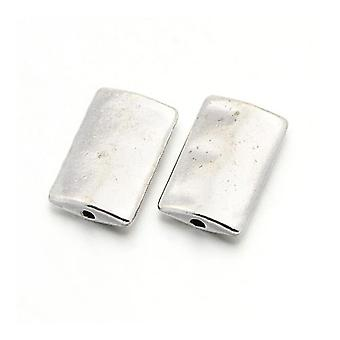 Packet 10 x Silver Tibetan 10 x 17mm Rectangle Spacer Beads HA17510