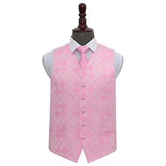 Light Pink Diamond Wedding Waistcoat & Tie Set