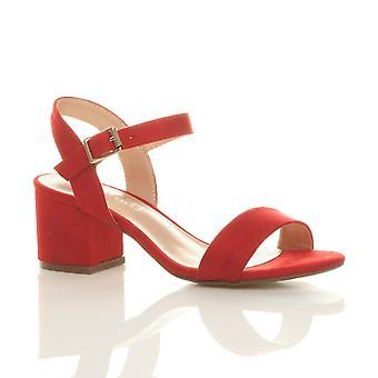 Ajvani womens mitten av låga block klack peep toe ankel rem strappy fest sandaler