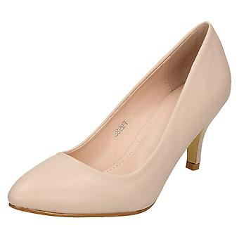 Ladies Spot On Mid Heel Pointed Toe Court Shoes F9988