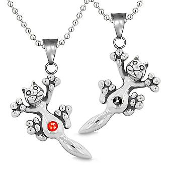 Amulets Cute Kitty Cat Love Couples or Best Friends Set Red Black Sparkling Crystals Necklaces