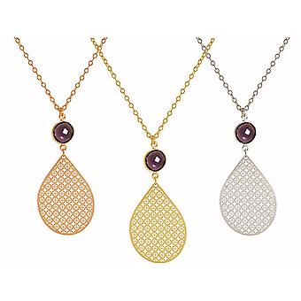 GEMSHINE mandala and Amethyst necklace gemstone. Pendant made of silver, gold plated or 45cm necklace. Made in Madrid, Spain. In the elegant gift box.