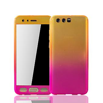 Huawei honor 9 mobile case protection-case full cover tank protection glass yellow / pink