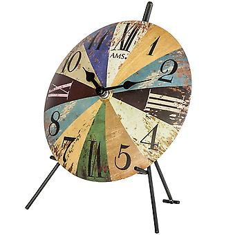colorful table clock table clock quartz metal dial colorful printed Vintagelook