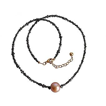 Ladies - necklace - diamonds - rose gold plated - Black Pearl -