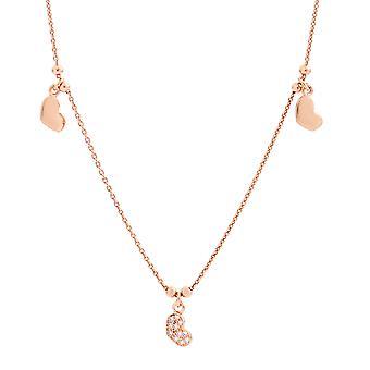 Orphelia plata 925 collar rosa oro corazones elementos circonio 40 + 4 cm