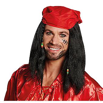 James shoulder length wig of Mr black head scarf red pirate accessory