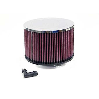 K&N RA-047V Universal Clamp-On Air Filter: Round Straight; 2.063 in (52 mm) Flange ID; 4 in (102 mm) Height; 5.875 in (1