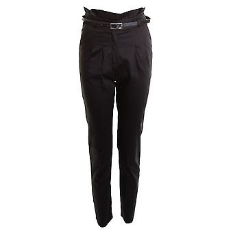 New Ladies Belted Chino Smart Straight School Girls Women's Trousers