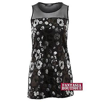 2161 Ladies Black Mesh Sleeveless Sequin Gathered Plain Back Long Women's Vest Top