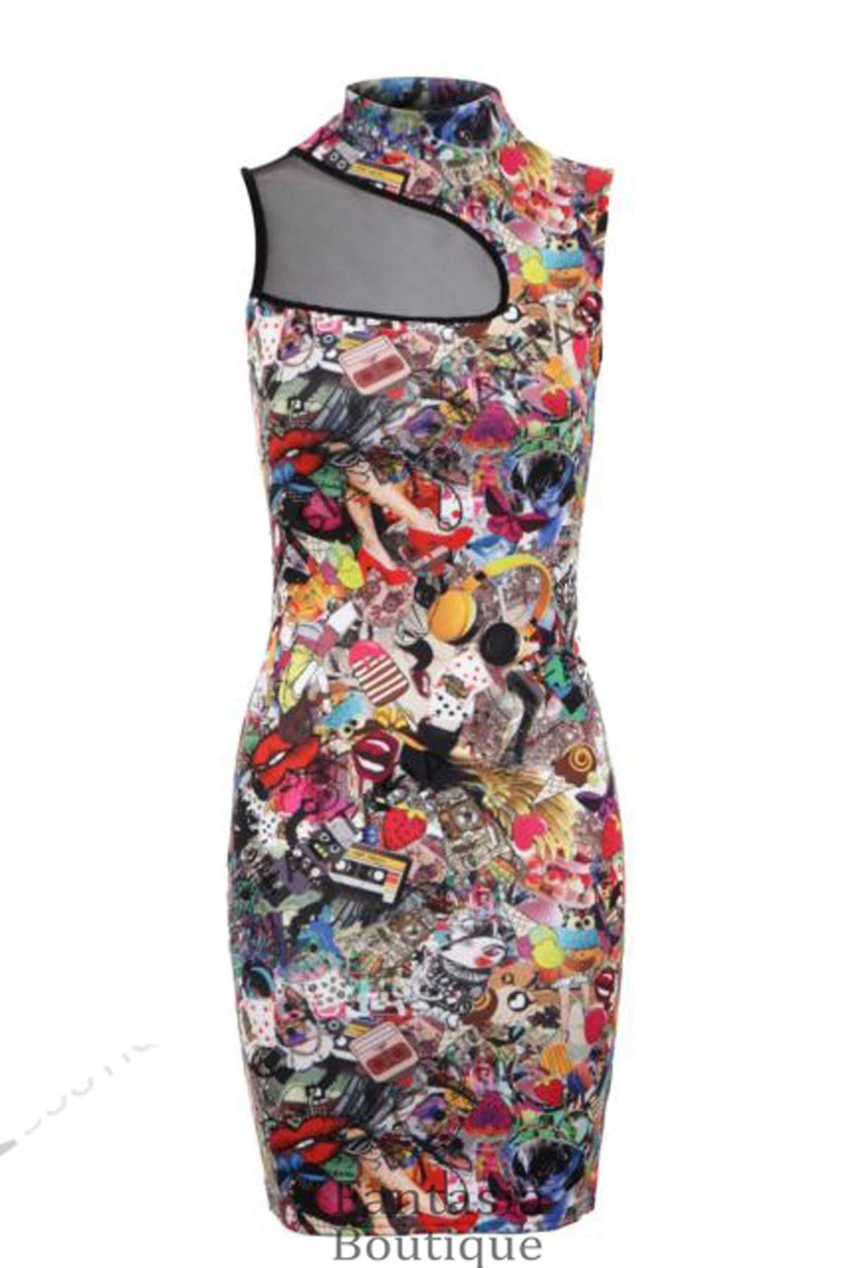 Ladies Funky Print Chest Mesh Slimming Effect Womens Bodycon Dress