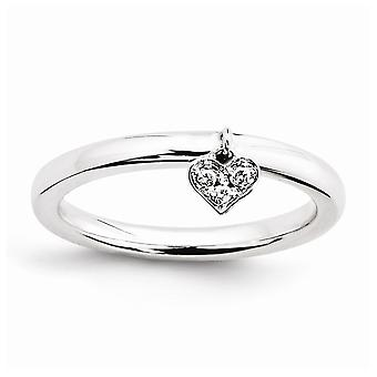 Sterling Silver Polished Prong set Rhodium-plated Stackable Expressions Dangle Heart Diamond Ring - Ring Size: 5 to 10