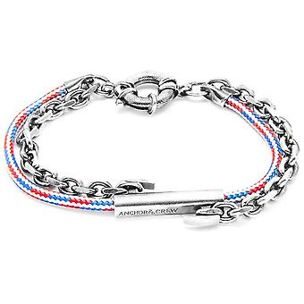 Anchor and Crew Belfast Silver and Rope Bracelet - Red/White/Blue