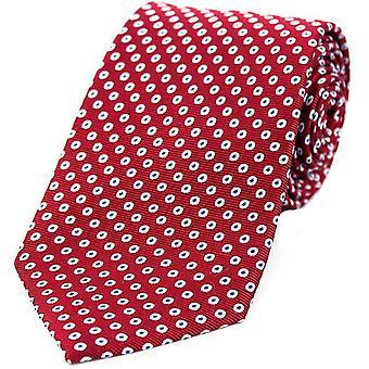 David Van Hagen Spot Target patroon zijden stropdas - rood