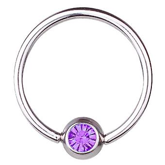 BCR Titan Piercing Ball Closure Ring 1, 2mm, SWAROVSKI Elemente lila | 6-12