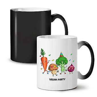 Vegan Party NEW Black Colour Changing Tea Coffee Ceramic Mug 11 oz | Wellcoda