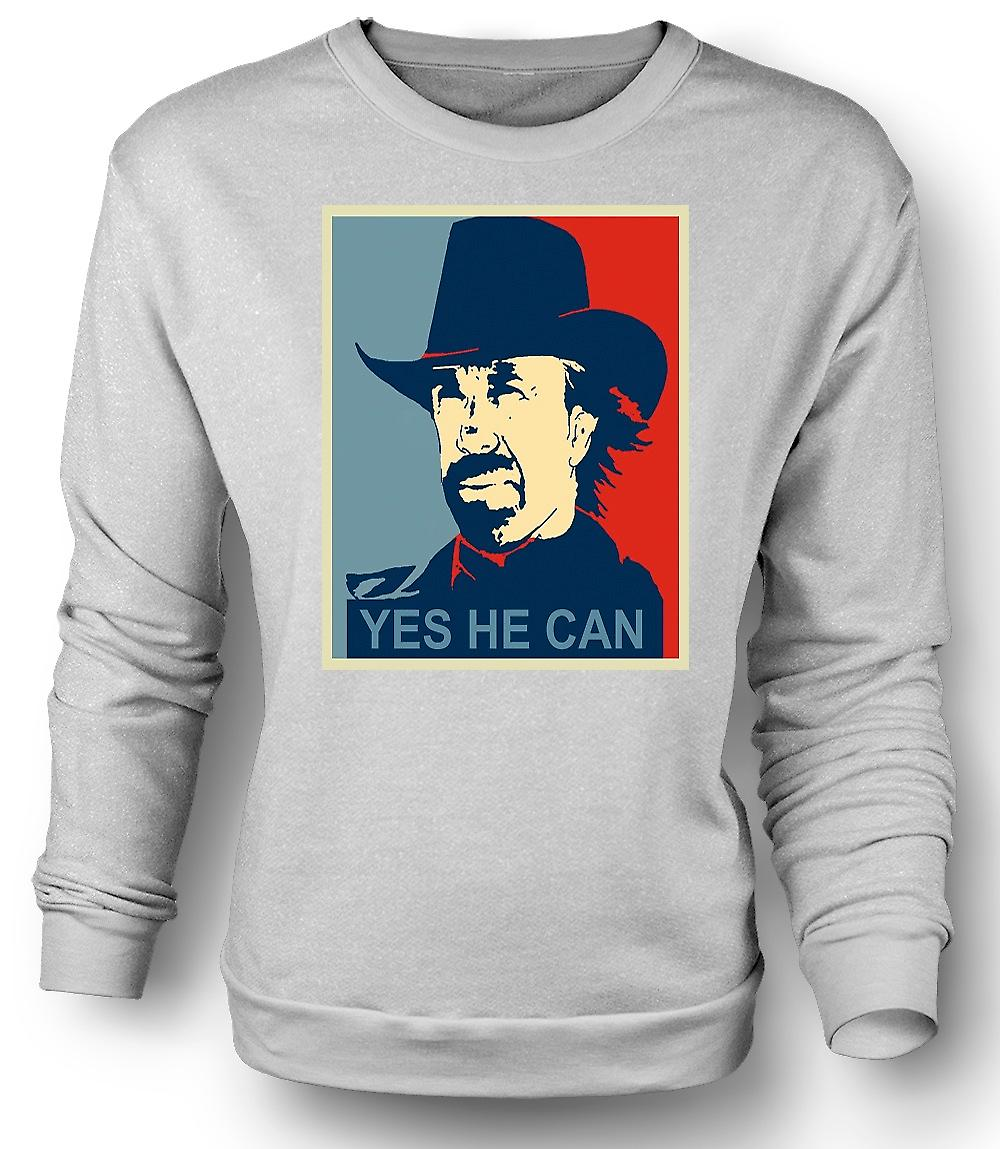 Mens Sweatshirt Chuck Norris Obama - Yes He Can