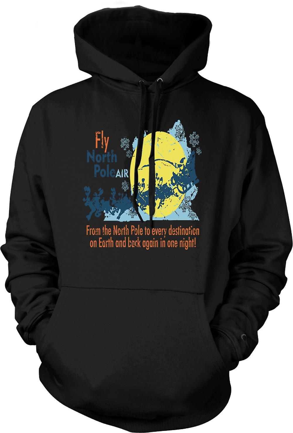 Mens Hoodie - Fly North Pole Air - Funny Santa