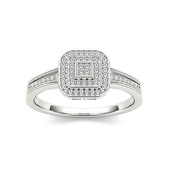 IGI Certified Solid 10k White Gold 0.14 Ct Diamond Halo Engagement Ring