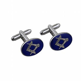 Rhodium Plated 19x13mm oval cold cure enamel Masonic swivel Cufflinks