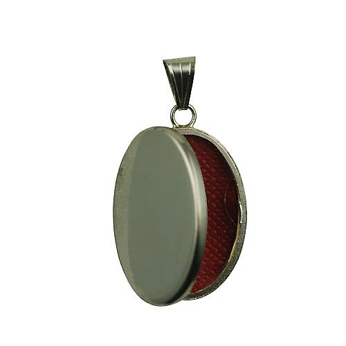 18ct White Gold 26x19mm oval plain Locket