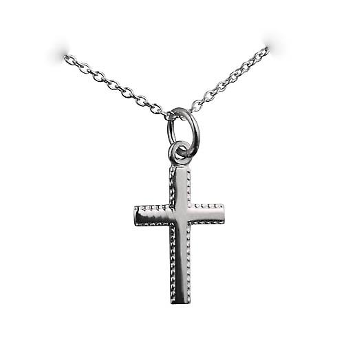 Silver 17x11mm plain milled edge latin Cross with a rolo Chain 24 inches