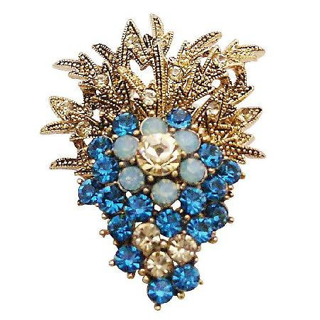 Fashionable Brooch Affordable Jacket Dress Brooch Indicolite Crystals