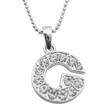 Style Your Name w/ Diamante Alphabet Pendant G Pendant Necklace