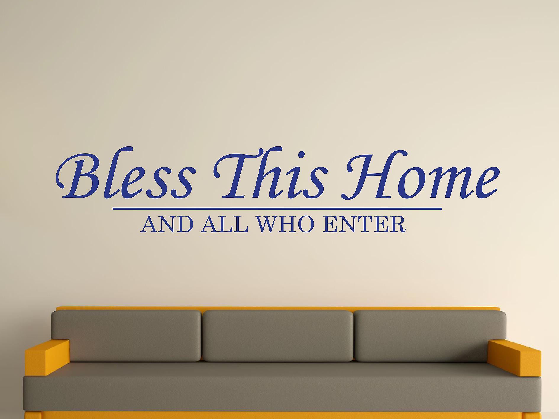 Välsigna detta hem vägg konst klistermärke - mörk blå
