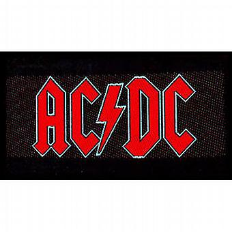 AC/DC red on black logo landscape sew-on cloth patch  (mm)