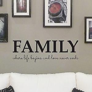 Family where life begins wall quote