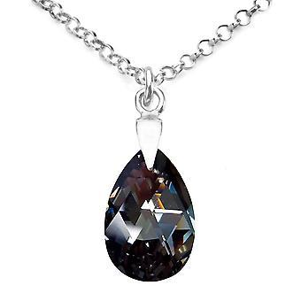 Ah! Bijoux en argent Sterling argent nuit cristaux de Swarovski poire collier