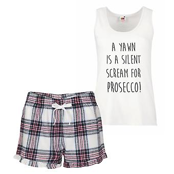 A Yawn Is A Silent Scream For Prosecco Pink Tartan Pyjamas