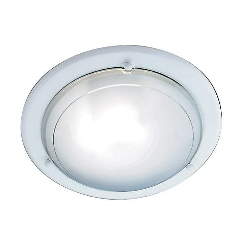 Searchlight 702WH Flush White 30cm Mounted Ceiling Light Clear Glass Diffuser