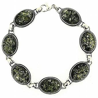 The Olivia Collection Sterling Silver Oval Link Green Amber Bracelet