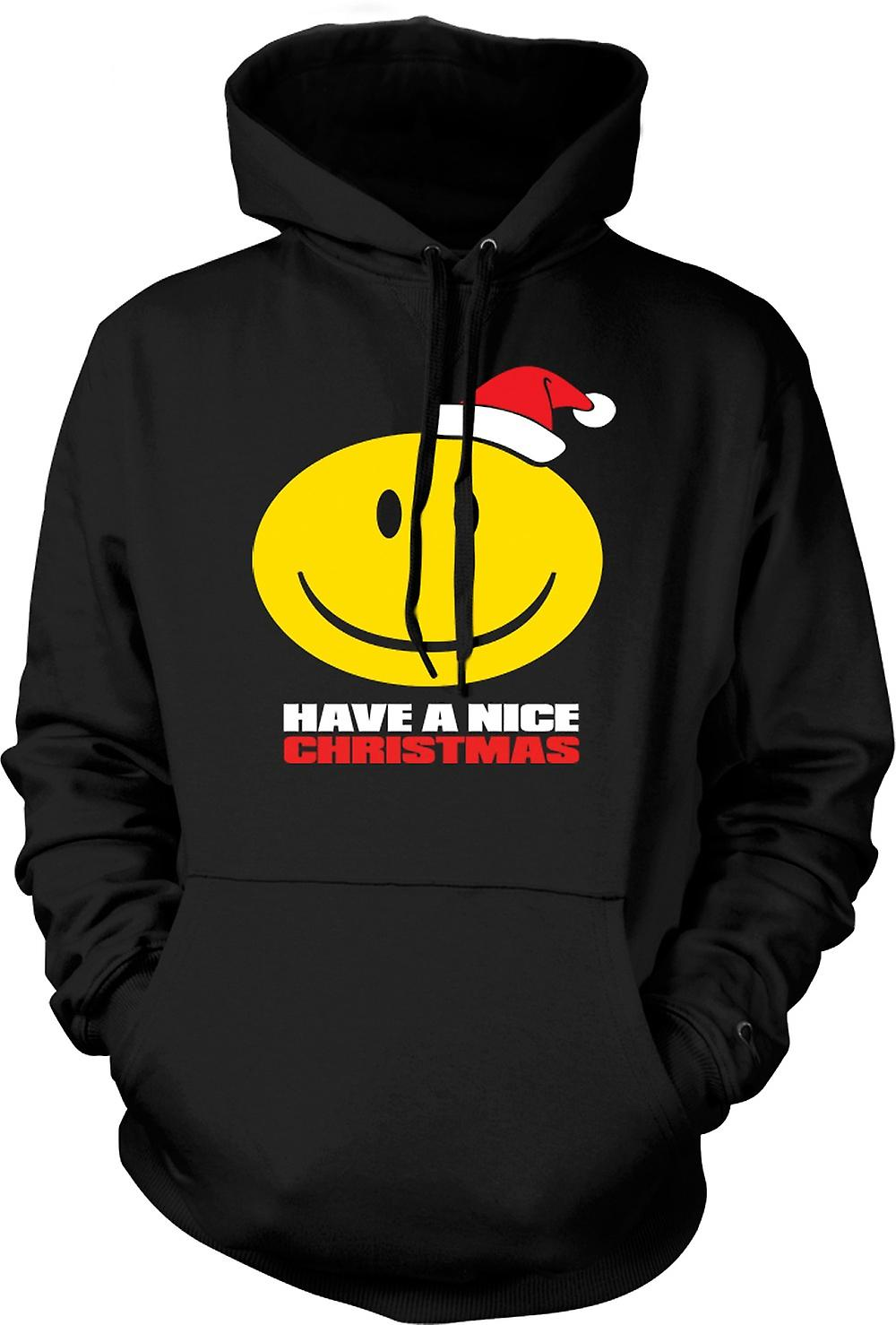 Mens Hoodie - Smiley Face, Have A Nice Christmas