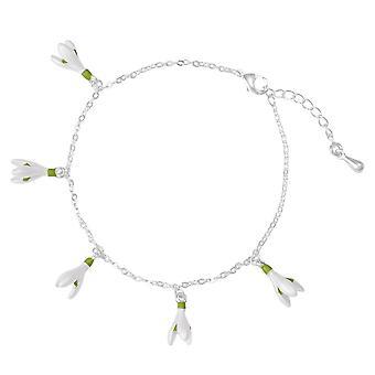 Eternal Collection Spring Snowdrop White Enamel Silver Tone Charm Bracelet