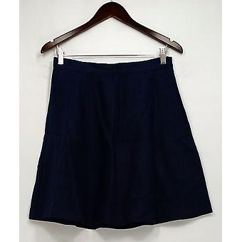 Jore Skirt Linen Side Zippered Pleated Basic Navy Blue