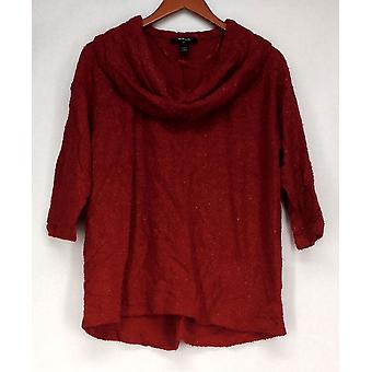 Style & Co. 3/4 Sleeve Cowl Neckline Sweater w/ Metallic Red Womens