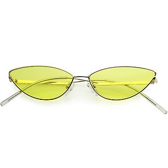 Retro Vintage Inspired Thin Metal Frame Color Tinted Lens Cat Eye Sunglasses 53mm