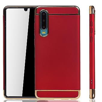 Huawei P30 Handy Hülle Schutz Case Bumper Hard Cover Rot