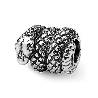 925 Sterling Argent Poli Antique finition Reflections SimStars Snake Bead Charm