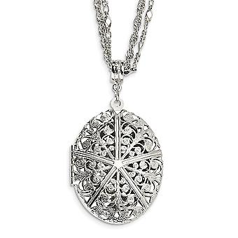 Silver-tone Fancy Lobster Closure Oval Locket 16 Inch Double Chain Necklace