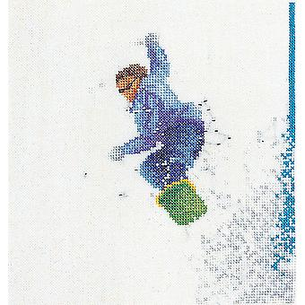 Snowboarder On Aida Counted Cross Stitch Kit 6 1 4